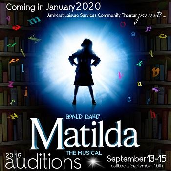 Roald Dahl's Matilda the Musical Auditions Matilda in front of bookshelves