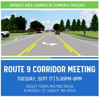 Rt 9 Corridor Meeting Graphic of tree lined road with cars and bus