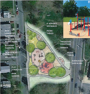 Map showing Kendrick Park Playground concept plan