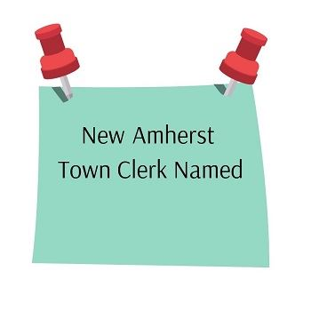 New Town Clerk for Amherst Post It Note with pins