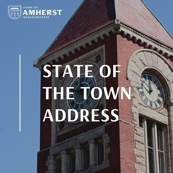 State of the Town Address with Amherst Town Clock Tower in Background