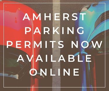 Amherst parking permits now available for purchase online over images of cars parked