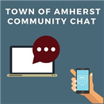 amherst community chats: graphic of a laptop, text bubble and hand holding a mobile phone