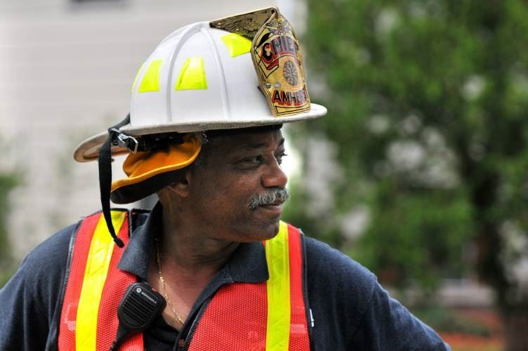 Fire Chief Tim Nelson in helmet