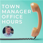 Text: Town Manager Office Hours with orange handset telephone and a photograph of Paul Bockelman