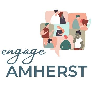 Engage Amherst logo with graphic of people communicating in chat bubbles