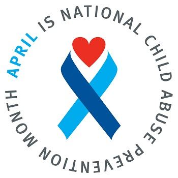 Child Abuse Prevention Month Logo with blue ribbon and heart