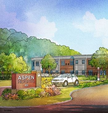 Drawn rendering of Aspen Heights apartment building with a car and trees surrounding building