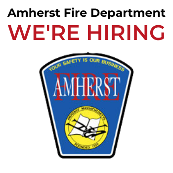 Amherst Fire Department We're Hiring with image of patch