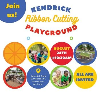 Text: Join us  for Kendrick Playground Ribbon Cutting Event on Tuesday, August 24 at 10:30 AM