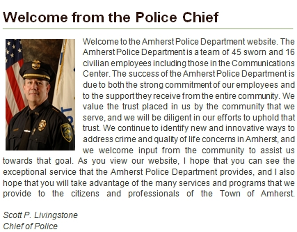 Welcome from the Police Chief